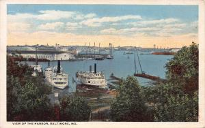 View of the Harbor, Baltimore, Maryland, Early Postcard, Unused