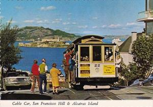 Cable Car San Francisco Hill & Alcatraz Island San Francisco California