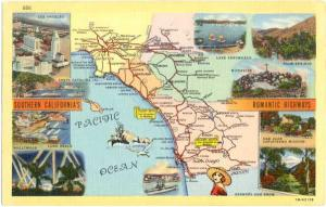 Southern California's Southern Romantic Highways Map Card, CA, Linen