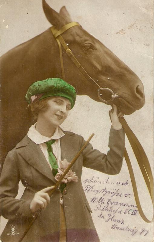 Pretty lady with her horse Nice old vintsge German postcard