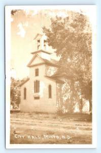 Postcard ND Minto City Hall RPPC Real Photo I8