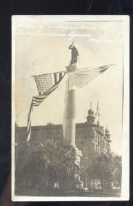 RPPC MONTEVIDEO URUGUAY MONUMENT TOWER U.S. FLAG REAL PHOTO POSTCARD
