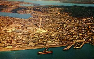WA - Seattle.Aerial View including Elliott Bay and Seattle World's Fair Site