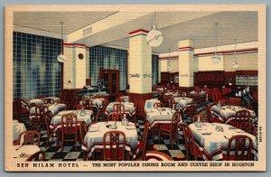 Postcard Houston TX c1938 Ben Milam Hotel Interior Dining Room Coffee Shop
