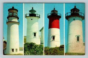 Cape Cod MA, Four Lighthouses, Chrome Massachusetts c1968 Postcard