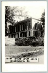 Brandenburg Kentucky~Meade County Court House~Retaining Stone Wall~1950s RPPC