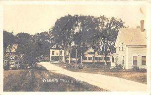 Webb's Mills ME Dirt Street View General Store RPPC Postcard
