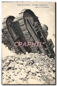 Postcard Old Army Tank Battle Tank Dangerous Passage station has somersault