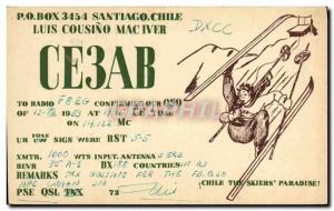 Postcard Old Telegraphie CE3AB Santiago Chile Luis Cousino Mac Iver skiing