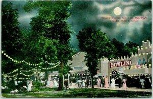 1910s CEDAR POINT, Ohio Postcard NIGHT SCENE ON THE MIDWAY Amusement Park Unused