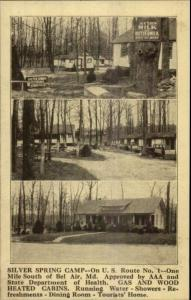 South of Bel Air MD Silver Spring Camp Route 1 c1930s  Postcard