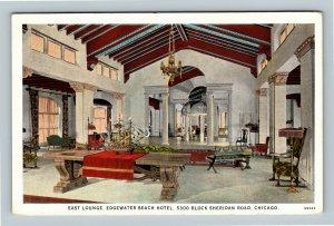 Chicago IL, Edgewater Beach Hotel, East Lounge, Vintage Illinois Postcard