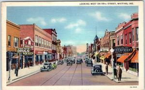 Whiting, Indiana Postcard Looking West in 119th Street Downtown Scene Linen