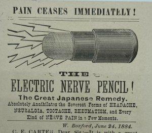 Electric Nerve Pencil Quack Medicine Carter Lowell Mass Massachusetts Trade Card