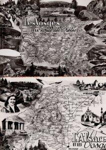 L'Alsace Et Les Vosges Lac 2x Vintage 1950s Real Photo French Map Postcard