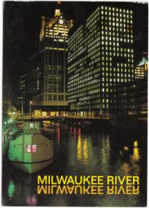 MILWAUKEE RIVER, Wisconsin, by night, used Postcard