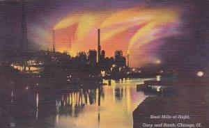 Illinois Chicago Steel Mills At Night Gary And South Chicago