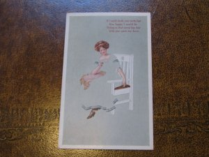 Fadeaway Postcard - Woman - Poem Gibson Art Company - If I could stroke your....