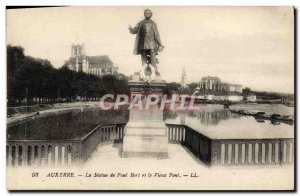 Old Postcard The Statue of Auxerre Paul Bert and the Old Bridge
