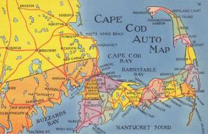 Cape Cod Auto Map - MA, Massachusetts Linen