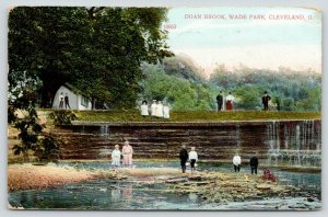 Cleveland Ohio~Kids Below Retaining Wall @ Wade Park~Doan Brook~Tree Stump~1910