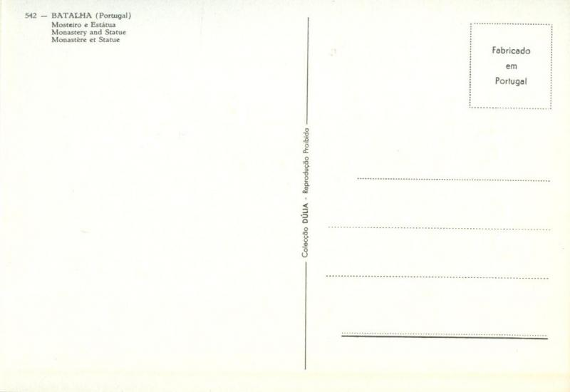Portugal, BATALHA, Monastery and Statue, Mosteiro e Estatua, unused Postcard