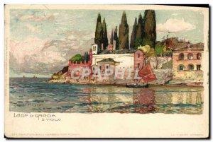 Old Postcard Illustrator Lago di Carda