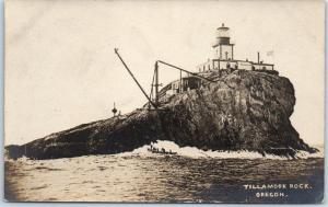1910s Oregon RPPC Real Photo Postcard TILLAMOOK ROCK LIGHTHOUSE w/ Boat Unused
