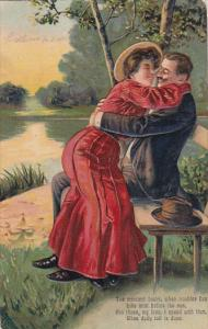 Romantic Couple Embracing on Bench 1911
