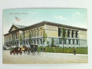 Vintage Postcard 1910's Art Institute Chicago IL Illinois Horse and Buggy Scene