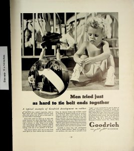 1937 Goodrich All Products Problems in Rubber Tire Baby Vintage Print Ad 5961