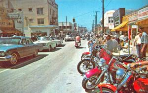 Daytona Beach FL Main Street During Motorcycle Races Old Cars Postcard