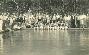 1920s Very Large Group of People Swimming Pool RPPC Photo Postcard 20-3292