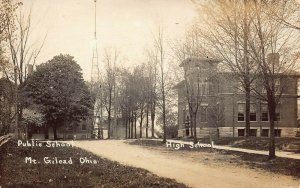 LP72  Mt. Gilead  Ohio RPPC Postcard  Public and High School