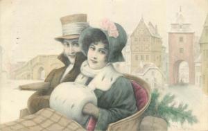 Wichera signed couple winter seasonal fantasy early artist postcard M. M. Vienne