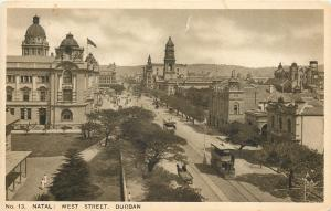 Durban South Africa~West Street~Natal~Double Decker Bus~Horse Wagon~1920s PC
