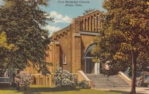 Milan Tennessee First Methodist Church Linen Antique Postcard K11272