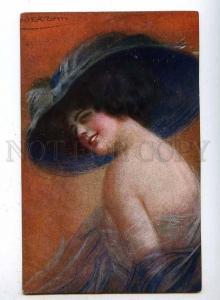 186941 Semi-Nude Lady in HAT by GUERZONI old ART NOUVEAU PC