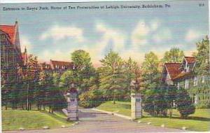 Pennsylvania Bethlehem Entrance to Sayre Park Home of Ten Fraternities at Leh...