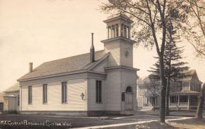 Clinton WI United Methodist Episcopal Church~Belltower Pillars~Prsnge~RPPC c1910