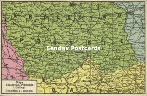 MAP Postcard of the Kingdom of Poland and Galicia (1915) WWI