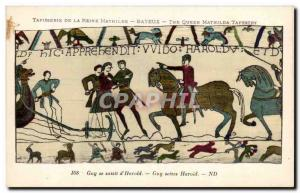 Postcard Old Bayeux Tapestry Queen Guy grabbed d & # 39Harold