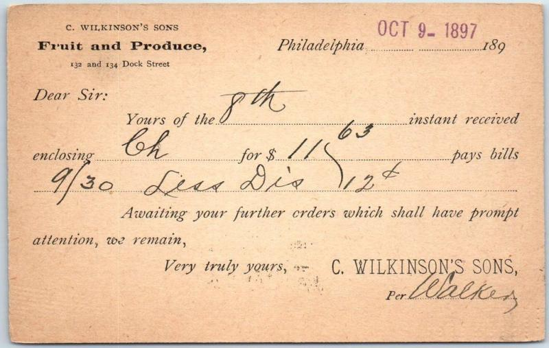 1897 Philadelphia PA Receipt Postcard C WILKINSON'S SONS Fruit Produce w/ Cancel