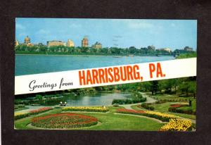 PA Greetings From Harrisburg Penn Pennsylvania Capital Gardens Postcard Striped