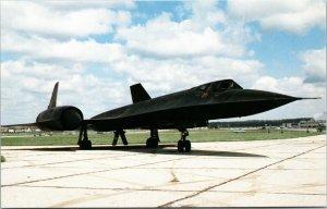 Chrome postcard, vintage, Lockheed SR-71A Blackbird jet plane