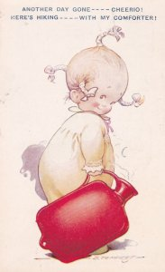 AS: D. Tempest, 1910-20s; Comic, Little girl walking off with hot water bottle