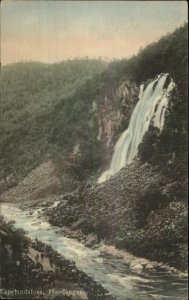 Hardanger Norge Norway Waterfalls 1914 Used Postcard MILITARY CAMP CANCEL
