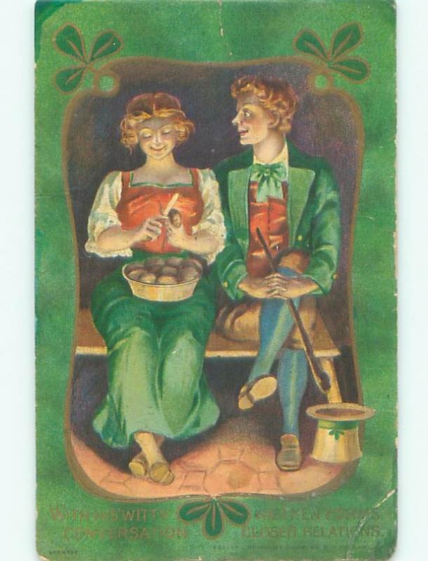 Divided-Back st. patrick PRETTY IRISH GIRL PEELING POTATOES W7333
