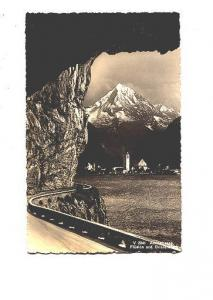B&W Photo, Road With Rock Overhang, Town, Axenstrasse, Switzerland