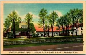Bardstown, Kentucky Postcard BALDWIN'S TOURIST COURT Highway 31 Roadside Linen